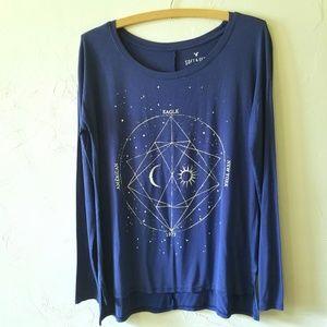 American Eagle Soft & Sexy Moon Sun Astrology Top